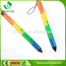 Pen shape colorful plastic 3 led light custom keychain flashlight