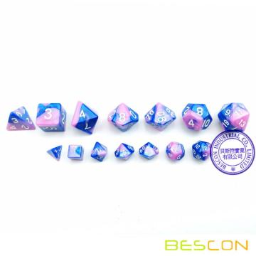 Bescon Mini Gemini Two Tone Polyhedral RPG Dice Set 10MM, Small Mini RPG Role Playing Game Dice D4-D20 in Tube,Color of Myosotis