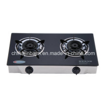 2 Burners Tempered Glass Top Brass 120mm Whirlwind Brass Burner Cooker/Gas Stove