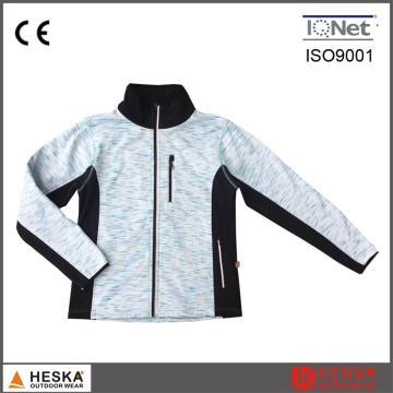 Projeto OEM quente vendas exterior impermeável Zip Melange cor de malha roupas mulheres jaqueta