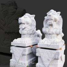 Garten Kunst Schnee Weiß Garten Granit Löwen Statuen zu verkaufen