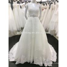 Kundengebundenes Kleid-Entwurf Appliqued Vestido V-Ansatz Sleeveless niedriger rückseitiger wulstiger Gurt A-Linie Spitze Hemline Alibaba Hochzeit DressesA031