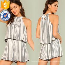 Preto e Branco Mock Neck Stripe Imprimir Ruffle Romper OEM / ODM Fabricação Atacado Moda Feminina Vestuário (TA7014J)