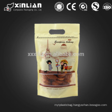 matte finished self stand up cheap cookie packaging with clear window