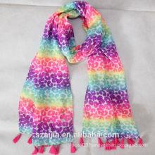 New design kids colorful printed silk scarf
