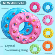 Whole Sale Summer Pool Floater Inflatable Circle Milti Color Plastic Crystal Swimming Rings