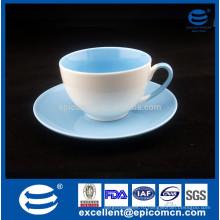 Горячий надувательство двойного цвета застекленный навалом маленький фарфор Новая кость Китай чашка кофе и блюдце набор