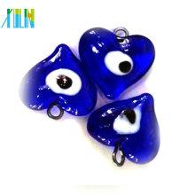 grânulos de vidro turcos do azul claro do coração do olho mau do mal do lampwork