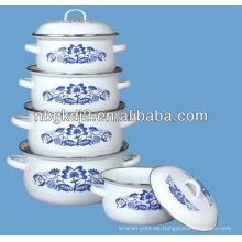 conjunto de 5 piezas de cazuela de esmalte con tapa de metal y 673D