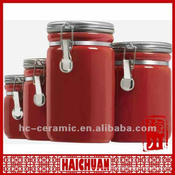 Ceramic red tea coffee sugar canister, kitchen canister