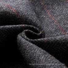 England Vintage-Stil 100% Wolle Tweed Fabric Navy Fischgrat mit roten Overcheck