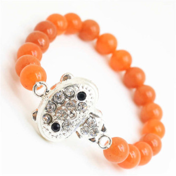 Red Aventurine Gemstone Bracelet with Diamante alloy Piece