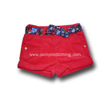 red corduroy girls shorts with floral belt