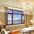 Fenêtre en aluminium plaqué en bois de bureau de beauté avec la couleur en bois de teck