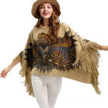 Womens Cardigan Wraps Winter Knitted Eagle Printing Shawls Sweater Poncho (SP619)