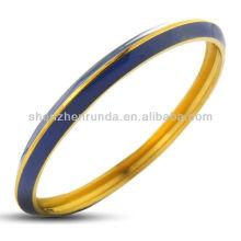 Stainless Steel Gold Plated Deep Blue Dual Toned Enamel Bangle Bracelet Vners