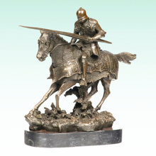 Ancient Knight Bronze Sculpture Soldier Metal Statue Tpy-455