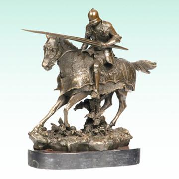 Ancient Knight Bronze Sculpture Soldier Metal Statue Tpy-455