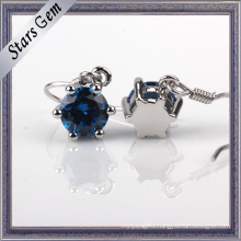 4mm Lab-Created Sapphire Eardrop in Stering Silver with Platinum Plated