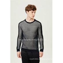Otomano acrílico de lana cuello redondo hombres jersey de punto