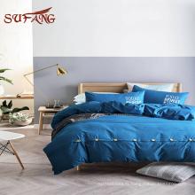 Linge de lit d'hôtel / Cutomized hot printing 300TC drap de lit en bambou avec feuille supérieure