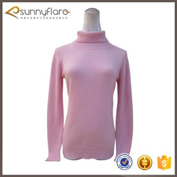 Últimas roupas de moda de cashmere pura com pescoço
