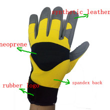 Heavy Duty Synthetic Leather Palm Safety Rigger Gloves with Rubber Logo