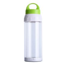 Double paroi 500 ml bouteille en verre clair avec couvercle de poignée, bouteille d'eau sans BPA