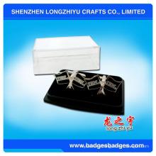 Gemelos personalizados de la camisa del traje del logotipo de la compañía con la caja