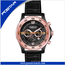 Hombres moda multifunción reloj mecánico de cuero genuino banda psd-2903
