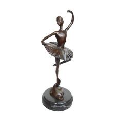 Danseur En Laiton Statue Ballerine Artisanat Décor Bronze Sculpture Tpy-296