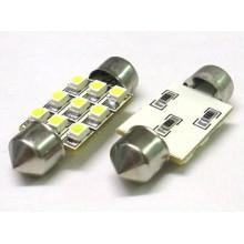 3528 9SMD 36mm 6 PCS couleur blanche voiture LED feston