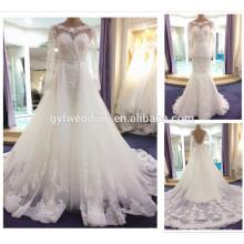 Neue 2016 Muslim Brautkleider mit langen Ärmeln Weiße Kristall Schärpe Spitze Appliques Brautkleid mit abnehmbarem Zug
