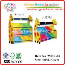 2014 new giraffe toy shelf ,popular kids wooden toy shelf ,hot sale kindergarten toy shelf