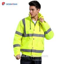 2018 Most Excellent Quality Yellow Hi Vis Workwear Parka Alta visibilidad Refelctive Safety Winter Padding Chaqueta de trabajo con capucha