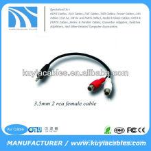 Haute qualité nickelé 3 m noir Câble d'extension 3,5 mm Câble femelle mâle de 3,5 mm à 2RCA