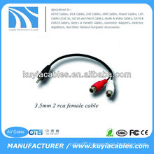 High Quality Nicked Plated 3m Black 3.5mm Extension Cable 3.5mm Male to 2RCA Female Cable