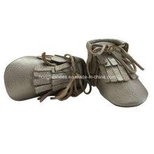 Goldene Quasten Leder Baby Schuhe