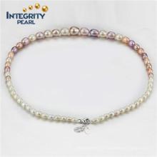 Collier de perles multicolores Collier de perles graduées AAA Collier de perles à goutte de 4-9 mm