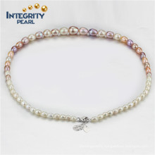 Multi Colored Pearl Necklace Graduated Pearl Necklace AAA 4-9mm Drop Pearl Necklace