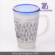 Tasse imprimée en autocollant de 12 oz Big Glass avec couvercle