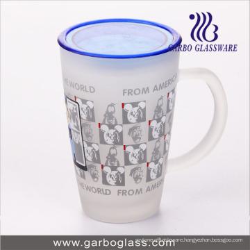 12oz Big Glass Decal Printed Mug with Lid Cover