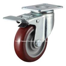 Caster Medium Duty Swivel W/Dual Brake Polyurethane Caster