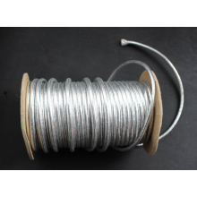 Shining silver metallic cord with roll