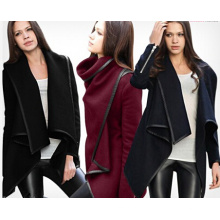 Hot Selling Fashion Women′s Stylish Winter Wool Sleeved Coats (14337)