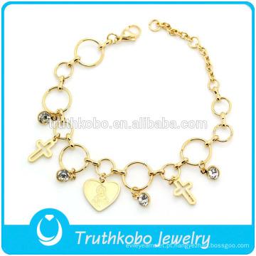 TKB-JB0080 Jóia de ouro de Cristo com corrente de loop polido crucifixo oco e pulseiras de aço inoxidável de Jesus 316L & bangles