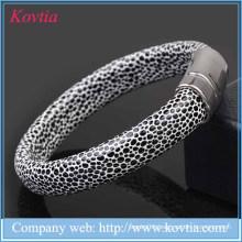 2015 Hallowmas cowhide leather magnetic bracelet serpentine leather men titanium steel bangle bracelet