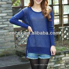 PK17ST218 Fashion ladies' cotton knit pullover sweater pattern