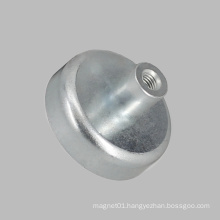 Plating Zinc Round Base Magnet Pot with Inner Thread Rod