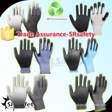 SRSAFETY 18 gauge Knitted PU Palm Cut Resistant Gloves,High Quality.